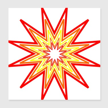 Star of different reddish colors - Poster 20x20 cm