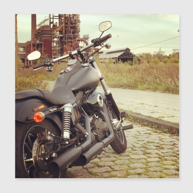 Motorcycle tour in a rustic setting - Poster 20x20 cm