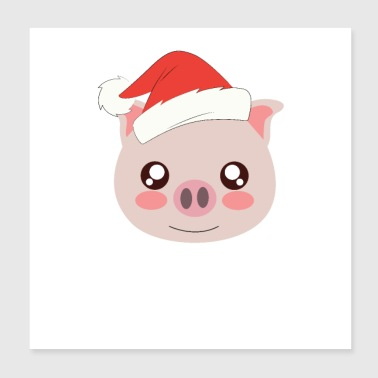 Sow Christmas pig - Poster 20x20 cm
