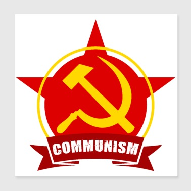 COMMUNISM Red Army Star Banner Badge - Poster 20x20 cm