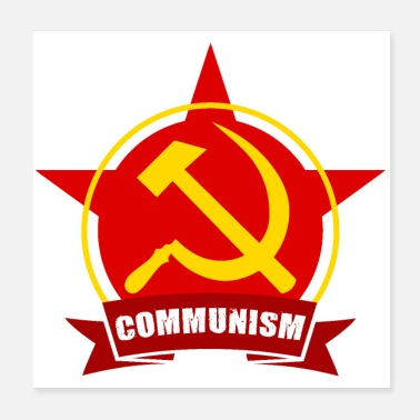 Community COMMUNISM Red Army Star Banner Badge - Poster 20x20 cm