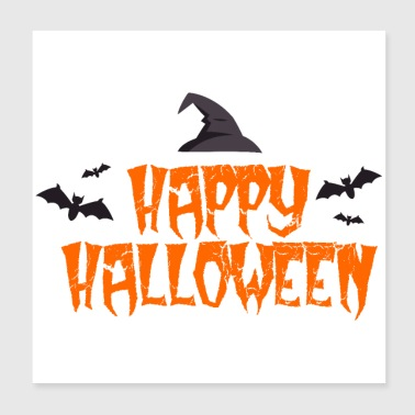 Happy Halloween bats witch hat gift idea - Poster 20x20 cm