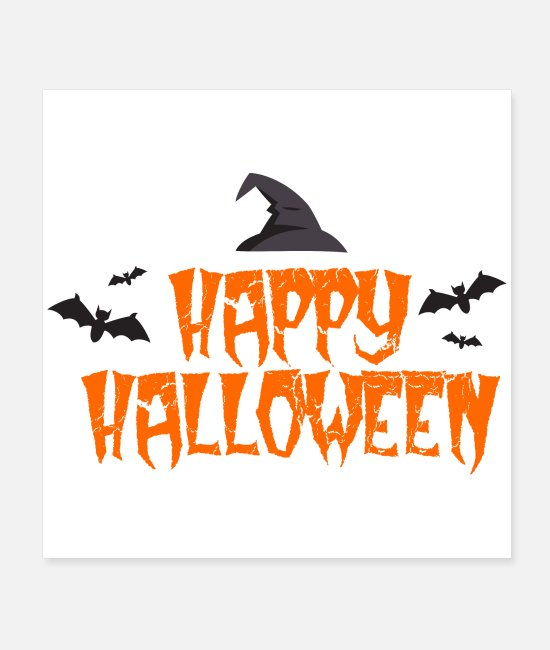 Bats Posters - Happy Halloween bats witch hat gift idea - Posters white