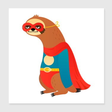 Coole Superhero Sloth - Poster 20x20 cm