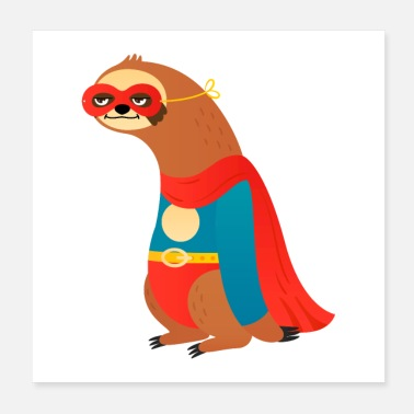 Tier Superhero Sloth - Poster 20x20 cm