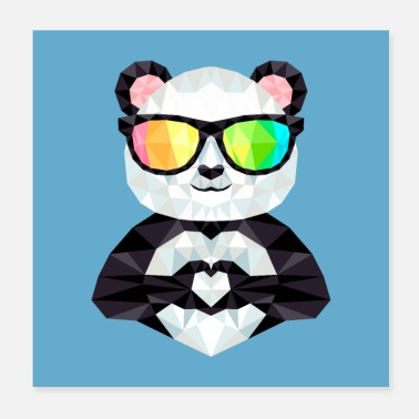 Löwe Panda With Rainbow Sunglasses Low Poly Style - Poster