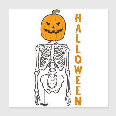 Halloween pumpkin bone skeleton - gift idea - Poster 20x20 cm