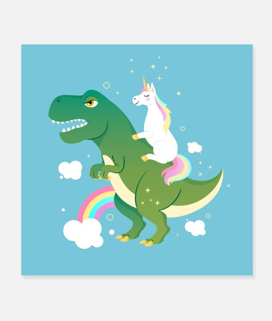 Födelsedag Postrar - Unicorn Riding On Dinosaur - Postrar vit