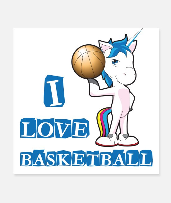 Einhorn Poster - Playing Basketball - Poster Weiß