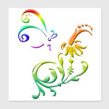 Tribal Rainbow butterfly with flower colorful tribal 3D - Poster 20x20 cm