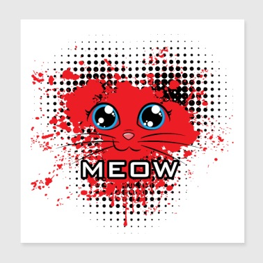 Meow chat coeur rouge - Poster 20 x 20 cm