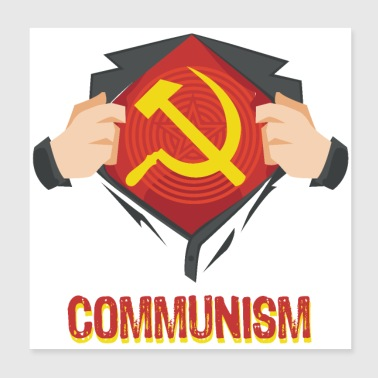 Communism Communism superhero hammer sickle Red USSR - Poster 20x20 cm