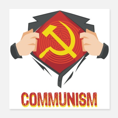 Community Communism superhero hammer sickle Red USSR - Poster 20x20 cm