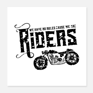 Gas riders rules black - Poster 20x20 cm
