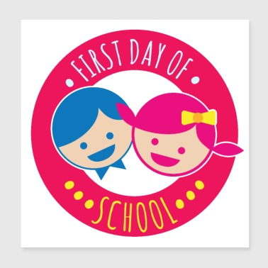 First day of school. Young girl Happy - Gift - Poster 20x20 cm