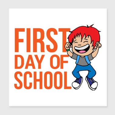 First day of school Young girls Happy First class - Poster 20x20 cm