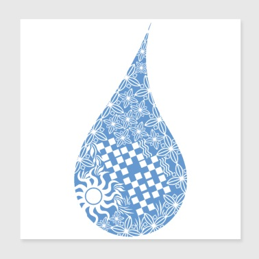 Maori Water Drop Tattoo Tribal Shapes Gift - Poster 20x20 cm