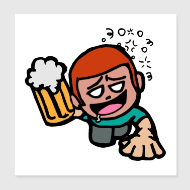 Saludos! Funny Party Guy Creeping Beer - Regalo - Póster 20x20 cm