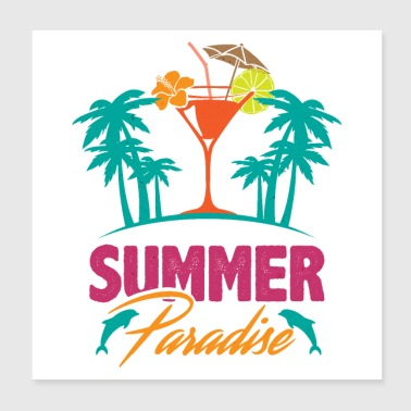 Summer paradise Ocean Island Dolphin Palm Cocktail - Poster 20x20 cm