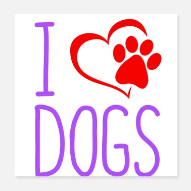 Paw Dogs paw puppy love - Poster 20x20 cm