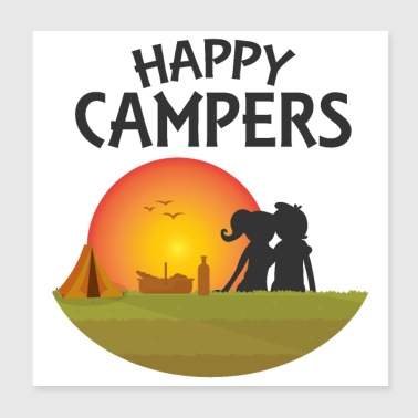 Outdoor Happy Campers Black - Gaveidee - Poster 20x20 cm