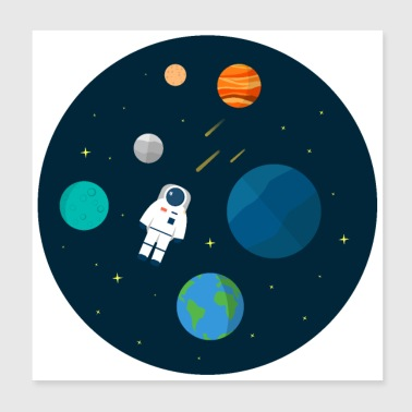 Flat Design Astronaut Cosmic Space Planets Scifi - Poster 20x20 cm