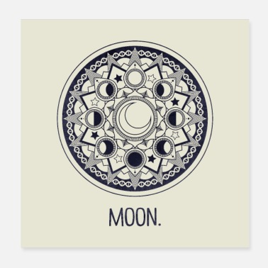 Astrologie dark blue moon. - Poster 20x20 cm