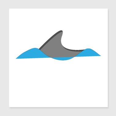Shark dolphin ocean sea swimming water predatory fish - Poster 20x20 cm