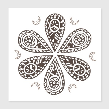 Tribal Tribal circle life forms tattoo Maori tribe - Poster 20x20 cm