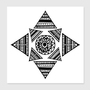 Trunk Shapes Tattoo Triangle Maori Tribe Eyes - Poster 20x20 cm