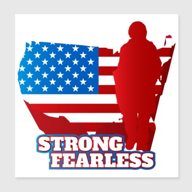 Skygge Army Soldier Figur US Flag Sterk Fearless Brave - Poster 20x20 cm