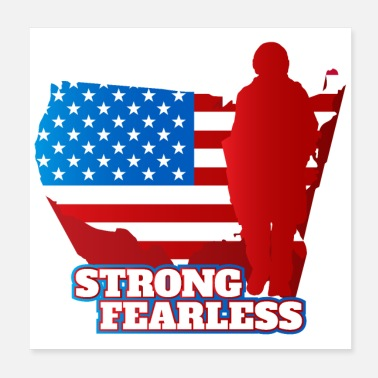 Torn Army Soldier Figure US Flag Strong Fearless Brave - Poster