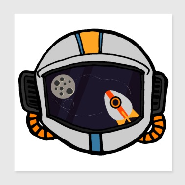 Flat Design Astronaut Space Rocket view - Poster 20x20 cm