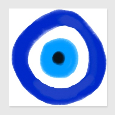 Blue evil eye Watercolor - Poster 20x20 cm