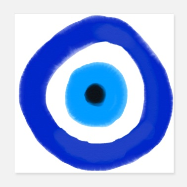 Indie Blue evil eye Water Colour - Poster 20x20 cm