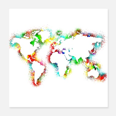 South World map watercolor - Poster