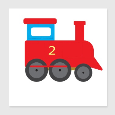 Steam locomotive train railway train for kids T-shirt - Poster 20x20 cm