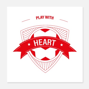 Europameister Fussball soccer football ball - play with heart - - Poster 20x20 cm