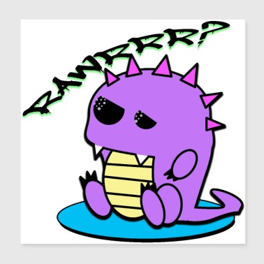 Muki the tired dinosaur Yami Kawaii pastel - Poster 20x20 cm