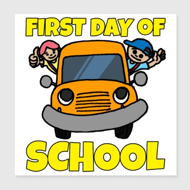 First day school bus Orange boy and girl - Poster 20x20 cm