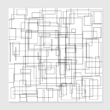 Rectangles pattern freestyle black and white - Poster 20x20 cm