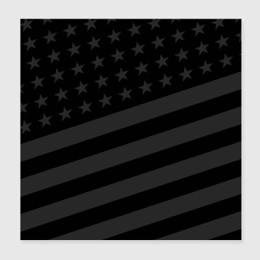 USA BLACK STARS AND STRIPES - Poster 20x20 cm