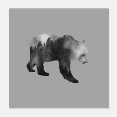 Luxury Brown Bear - Forest Double Exposure Effect B / W - Poster 20x20 cm