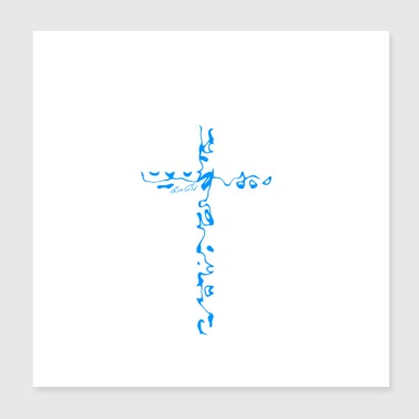 Cross blue - Poster 20x20 cm
