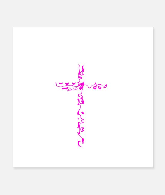 Church Posters - Cross pink - Posters white