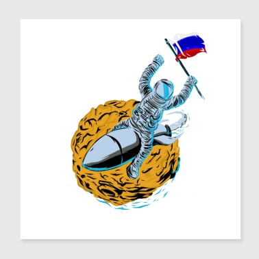 Astronaut Flagge Russland - Poster 20x20 cm