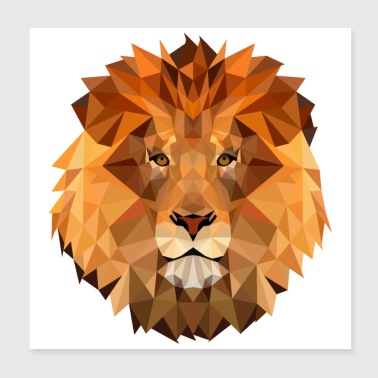 Low Poly Art Lion King of the Beast Kraftig - Poster 20x20 cm