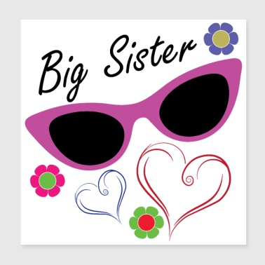 Big Brother Big Sister Big Sister Blumen Herzen - Poster 20x20 cm