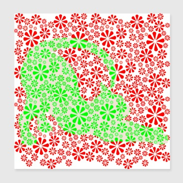 Flower Power Feline - green/orange ( petcontest ) - Poster 20x20 cm