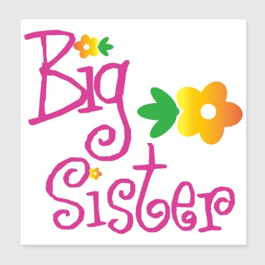 Big Brother Big Sister Big Sister Flowers - Poster 20x20 cm